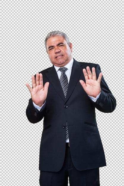 Homem negócio, fazendo, um, parada, gesto Psd Premium
