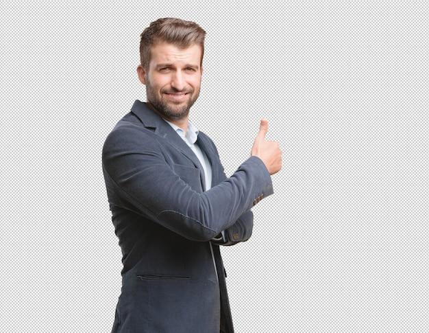 Homem negócios, fazendo, polegares cima, gesto Psd Premium