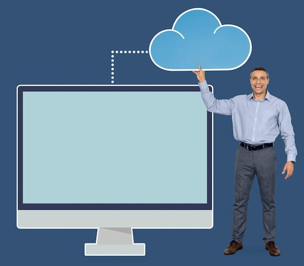 Homem negócios, segurando, nuvem, computando, ícone Psd grátis