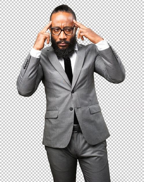 Homem negro de negócios concentrado Psd Premium