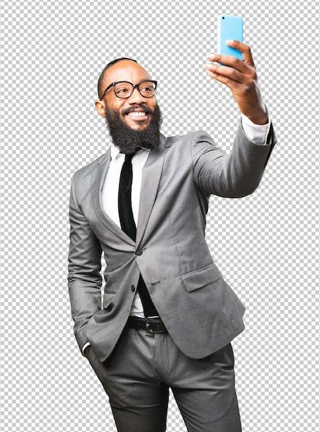 Homem negro de negócios tomando uma selfie Psd Premium