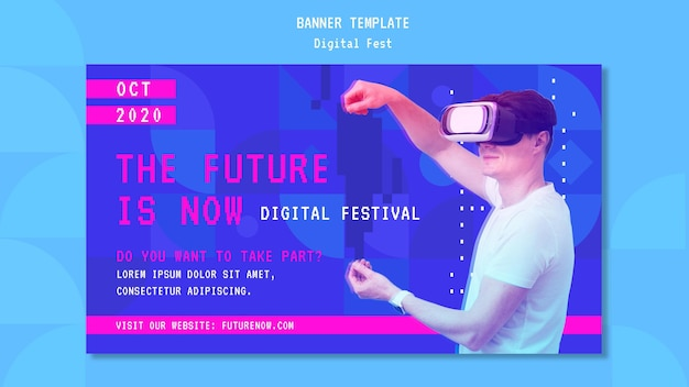 Homem usando um banner de fone de ouvido de realidade virtual Psd grátis