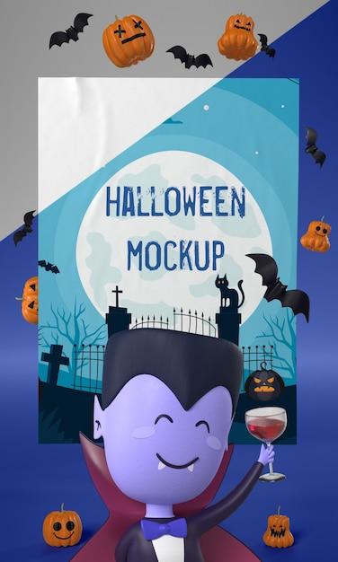 Homem-vampiro ao lado da maquete do cartão de halloween Psd grátis