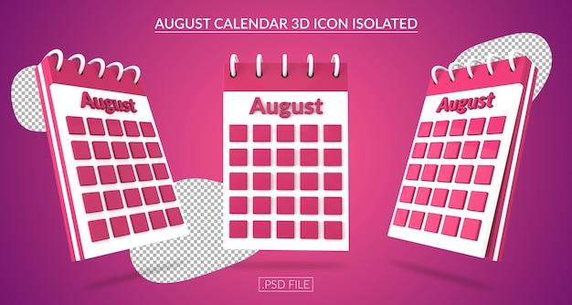 Ícone 3d do calendário de agosto isolado Psd Premium