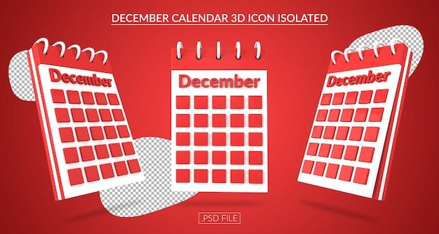 Ícone 3d do calendário de dezembro isolado Psd Premium