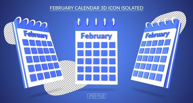 Ícone 3d do calendário de fevereiro isolado Psd Premium