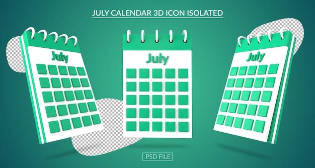 Ícone 3d do calendário de julho isolado Psd Premium