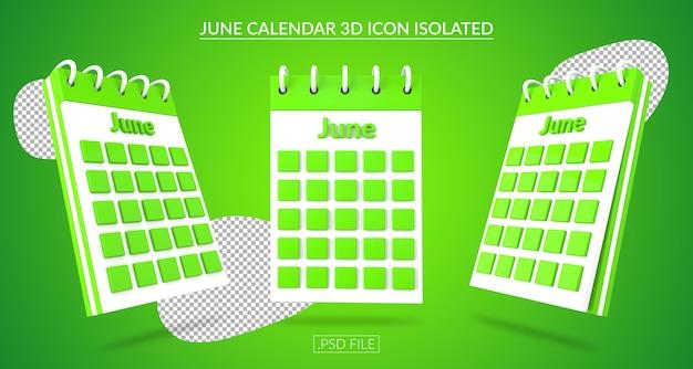 Ícone 3d do calendário de junho isolado Psd Premium
