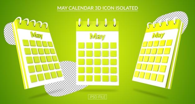 Ícone 3d do calendário de maio isolado Psd Premium
