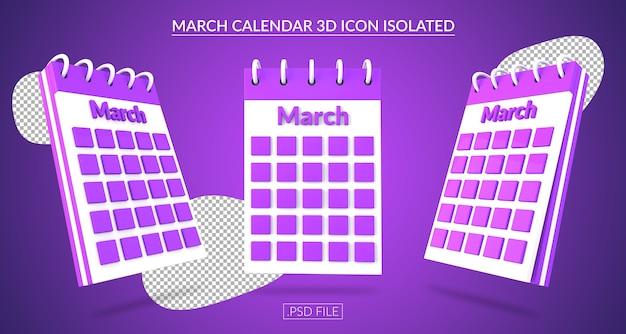 Ícone 3d do calendário de março isolado Psd Premium