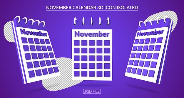 Ícone 3d do calendário de novembro isolado Psd Premium
