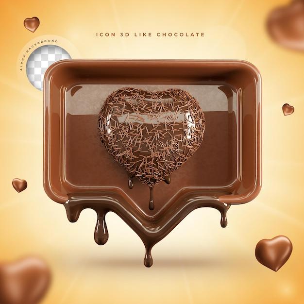 Ícone como renderização 3d de chocolate páscoa de mídia social Psd Premium