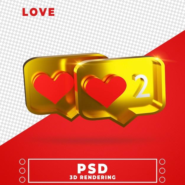 Ícone de amor na renderização 3d Psd Premium