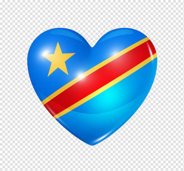Ícone de coração com bandeira da república democrática do congo Psd Premium