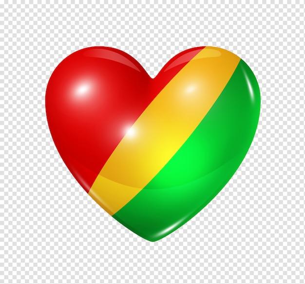 Ícone de coração com bandeira da república do congo Psd Premium