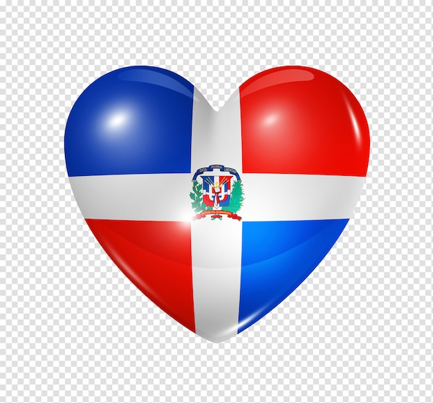 Ícone de coração com bandeira da república dominicana Psd Premium