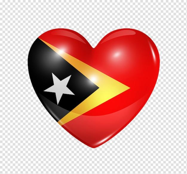 Ícone de coração com bandeira de timor-leste Psd Premium