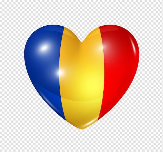 Ícone de coração com bandeira do chade Psd Premium