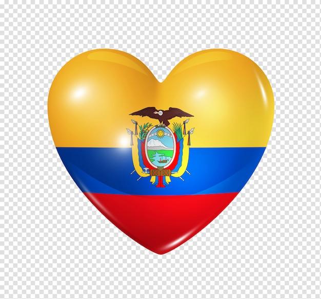 Ícone de coração com bandeira do equador Psd Premium