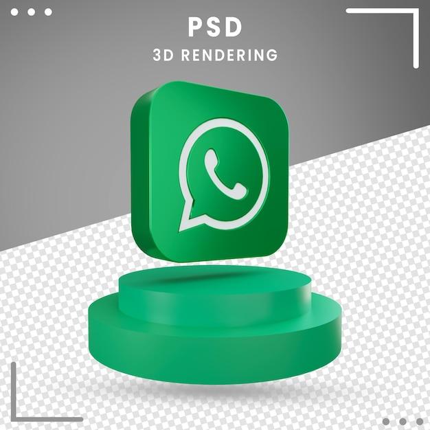 Ícone de logotipo girado 3d whatsapp isolado Psd Premium