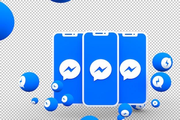 Ícone do facebook messenger na tela do smartphone ou celular e as reações do facebook messenger adoram renderização em 3d Psd Premium