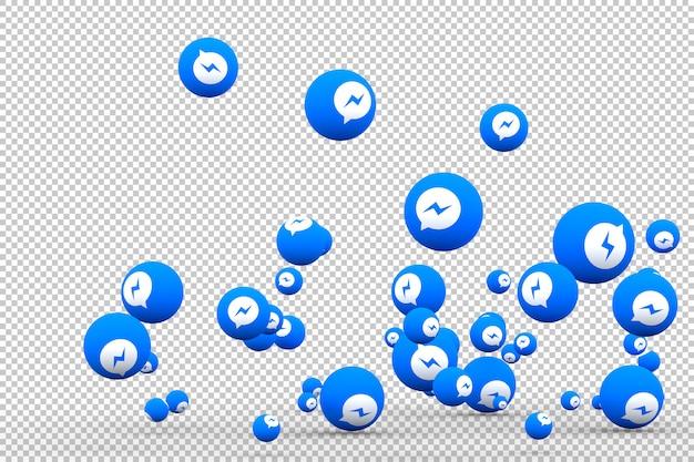 Ícone do facebook messenger na tela smartphone ou celular e reações do facebook messenger amam renderização em 3d Psd Premium