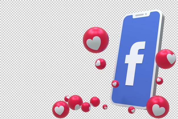 Ícone do facebook na tela smartphone ou móvel 3d render e reações do facebook amor, uau, como emoji render 3d Psd Premium