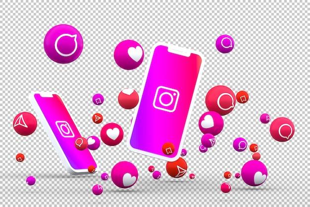 Ícone do instagram em telas de smartphones com emojis Psd Premium