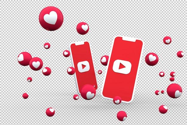 Ícone do youtube na tela smartphone e reações do youtube amam emoji renderização em 3d em fundo transparente Psd Premium