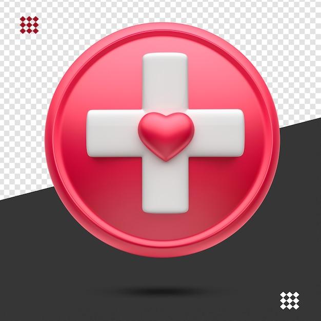 Ícone médico 3d vermelho com branco isolado Psd Premium