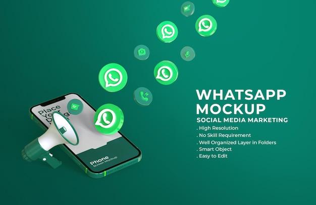 Ícones de whatsapp 3d com maquete de tela do celular e megafone Psd Premium