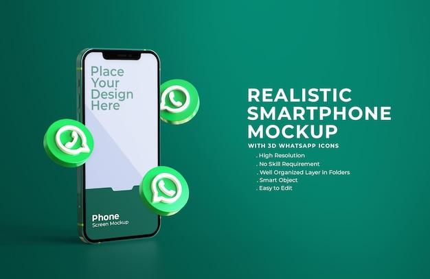 Ícones de whatsapp 3d com maquete de tela do celular Psd Premium