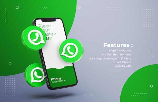 Ícones de whatsapp 3d com maquete de tela móvel Psd Premium