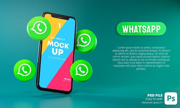 Ícones do whatsapp em torno do aplicativo mockup 3d para smartphone Psd Premium