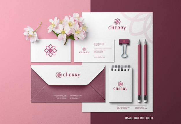 Identidade corporativa do cherry vibe scene creator & mockup com efeito de impressão pressionado Psd Premium
