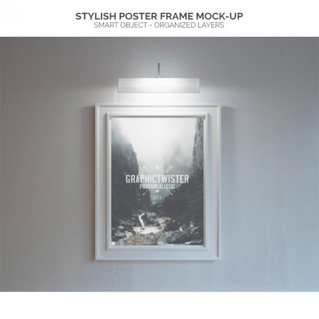 Iluminado quadro de cartaz mock-up Psd grátis