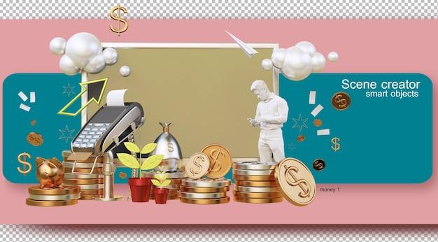 Ilustração de renderização 3d vivendo com dinheiro e conceito de economia Psd Premium
