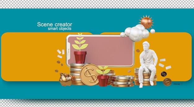 Ilustrações de gestão financeira da vida diária Psd Premium