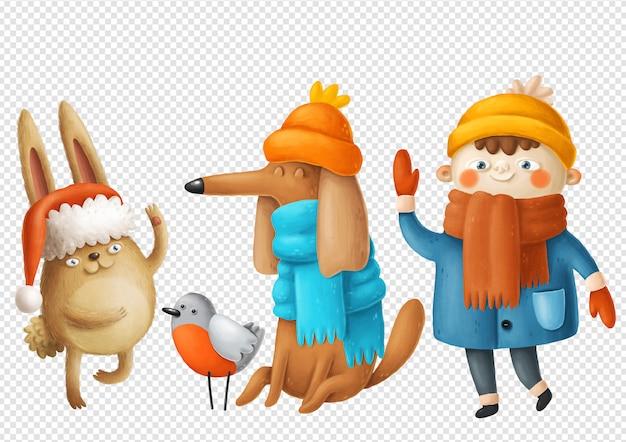 Ilustrações de menino, cachorro e coelho Psd Premium