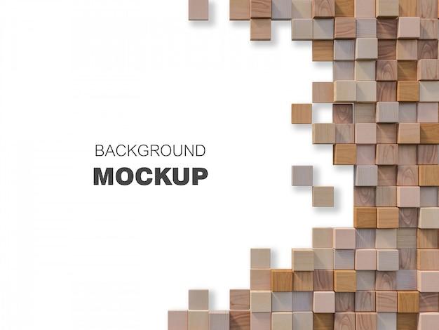 Imagem de renderização 3d da parede de madeira cúbica Psd Premium