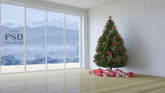 Imagem de renderização 3d de design de interiores no festival de natal Psd Premium