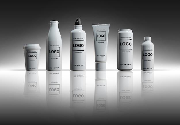 Imagens de maquete de renderização 3d de garrafas e latas brancas Psd Premium
