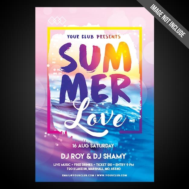 Imprimir pronto flyer de impressões de verão cmyk / poster com objetos editáveis Psd Premium