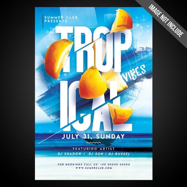 Imprimir pronto flyer de impressões tropicais de cmyk / poster com objetos editáveis Psd Premium