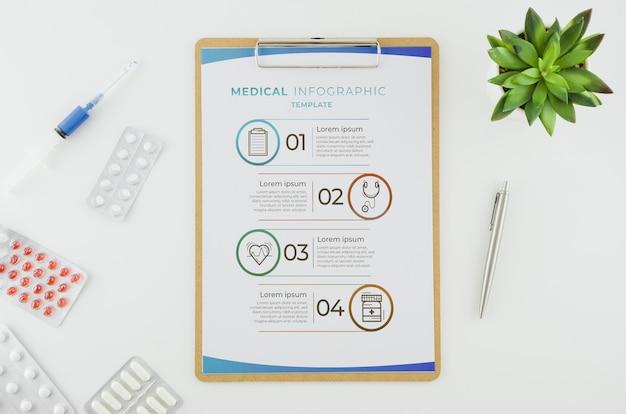 Infográfico médico de vista superior com maquete Psd grátis