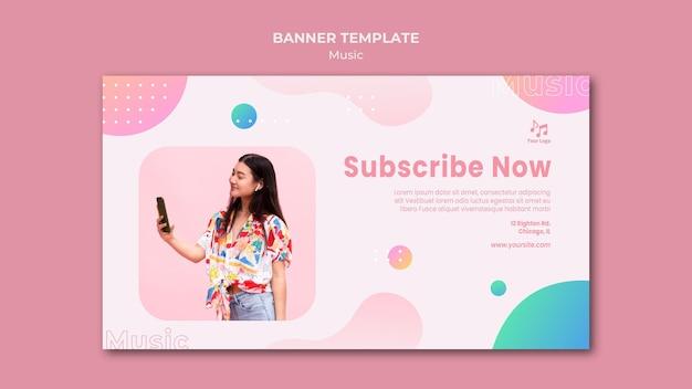 Inscreva-se agora modelo da web de banner de música Psd grátis