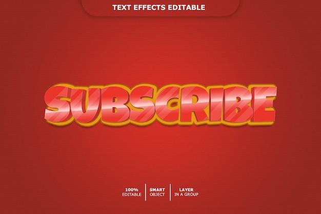 Inscrever-se efeito de estilo de texto 3d Psd Premium