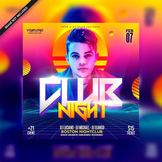 Insecto futurista do dj da noite retro de 80 clubes Psd Premium