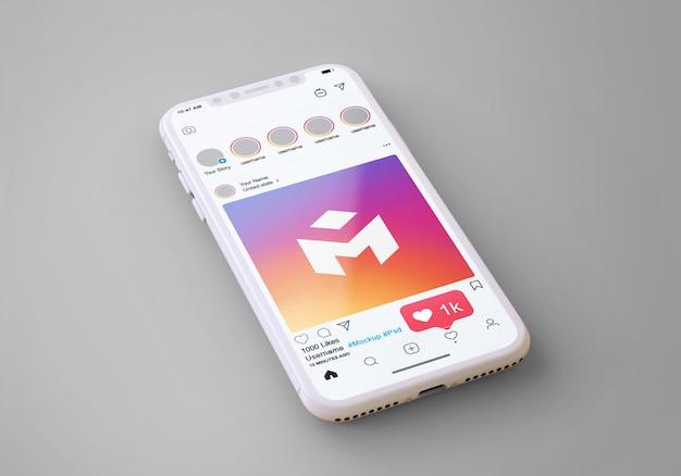 Instagram de mídia social no modelo de telefone móvel Psd Premium
