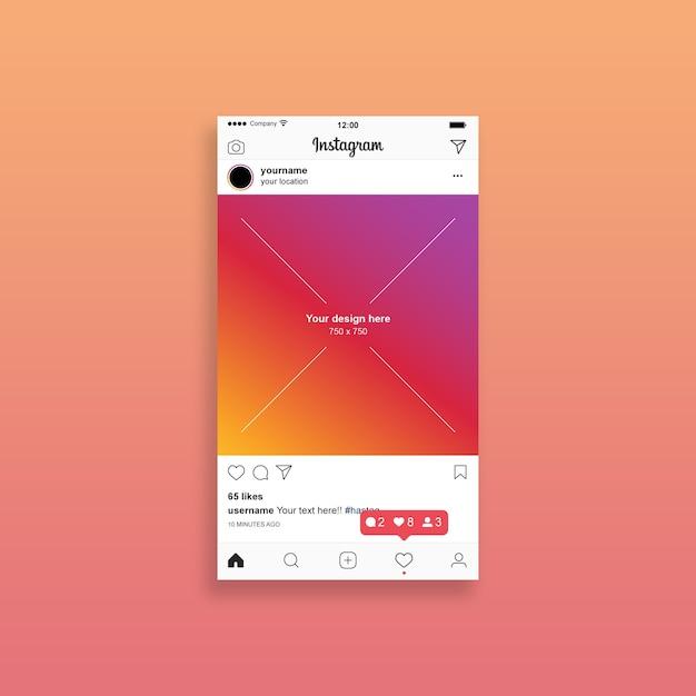 Instagram post mockup Psd Premium